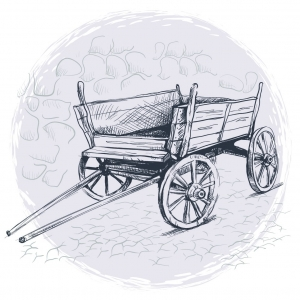 Drawing of an old wooden cart