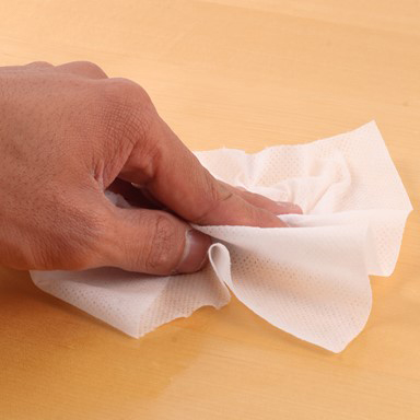 Hand wiping surface with low lint cloth