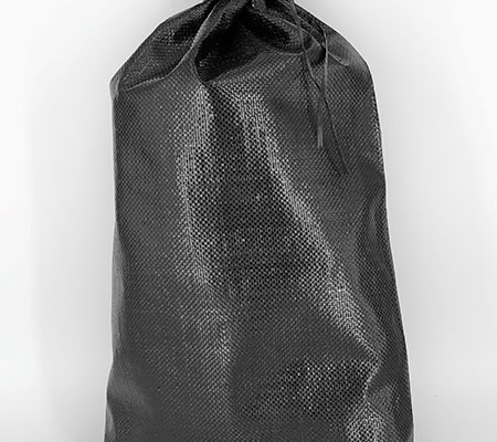 a black woven poly sand bag