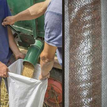 filling a polypropylene agricultural bag