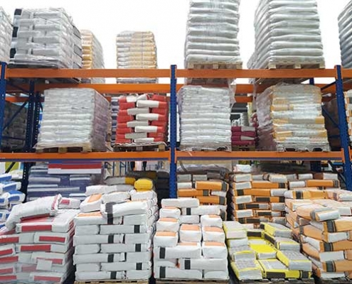 stacks of BOPP bags on pallets