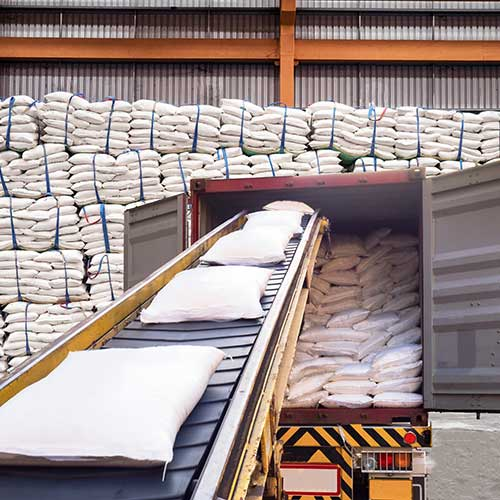 Woven Poly bags being loaded on a truck